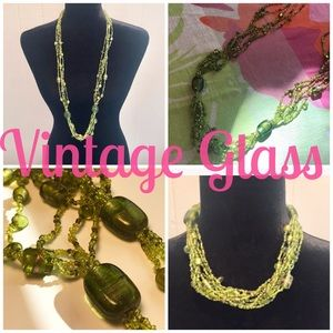 Vintage 90s Chartreuse Glass Bead Necklace🌵🌵🌵